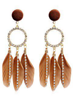 Rhinestoned Bohemian Feather Shape Hollow Earrings - Brown