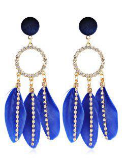 Rhinestoned Bohemian Feather Shape Hollow Earrings - Blue