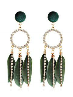 Rhinestoned Bohemian Feather Shape Hollow Earrings - Fern Green