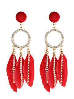 Rhinestoned Bohemian Feather Shape Hollow Earrings - Red