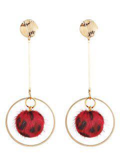 Leopard Tassel Pattern Hollow Earrings - Red
