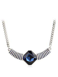 Fully Jewelled Pendant Design Necklace - Blueberry Blue