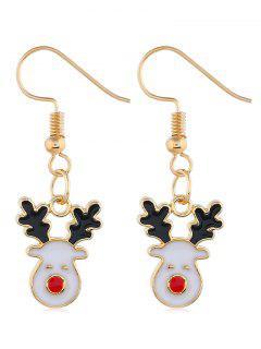 Smile Christmas Deer Printed Drop Earrings - Gold