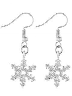 Christmas Snowflake Design Hook Earrings - Silver