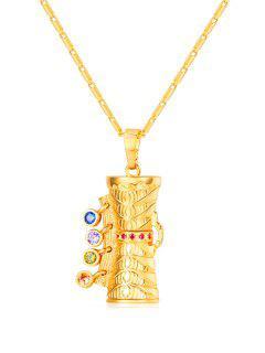 Statement Round Rhinestone Pendant Necklace - Gold