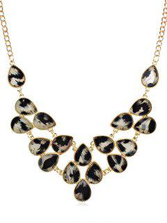 Rhinestoned Leopard Pattern Clavicle Chain Necklace - Black