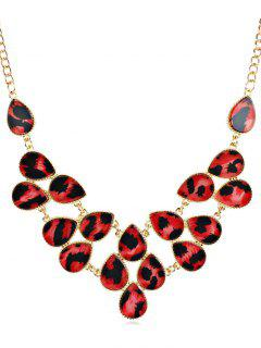 Rhinestoned Leopard Pattern Clavicle Chain Necklace - Red