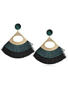 Bohemian Fanshaped Printed Tassel Earrings - Medium Sea Green
