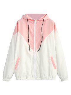 Zweifarbiger Hoodie Windjacke - Pink L