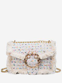 Artificial Pearl Plaid Pattern Crossbody Bag - White