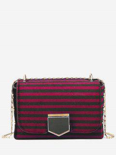 Striped Printed Link Chain Crossbody Bag - Red Wine