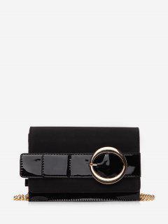 Metal Belt Shape Link Chain Crossbody Bag - Black
