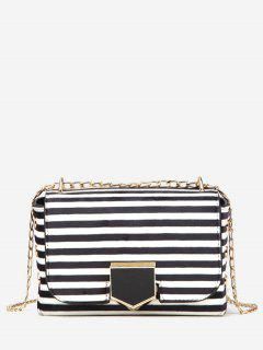 Striped Printed Link Chain Crossbody Bag - White