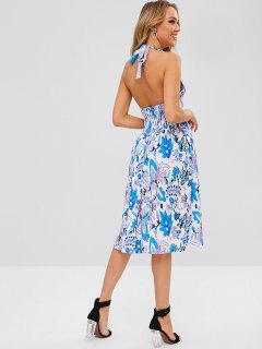 Vestido Con Cuello Halter Floral - Multicolor Xl