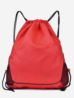 Solid Color String Design Student Backpack - Rosso Red