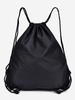 Solid Color String Design Student Backpack - Black