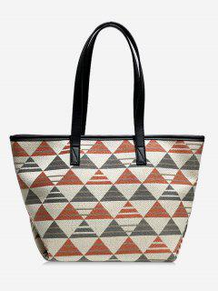 Geometric Plaid Pattern Shoulder Bag - Orange