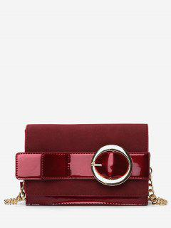 Metal Belt Shape Link Chain Crossbody Bag - Lava Red