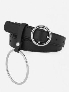 Vintage Metal Ring Faux Leather Skinny Belt - Black