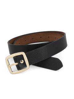Unique Metal Buckle Artificial Leather Dress Belt - Black