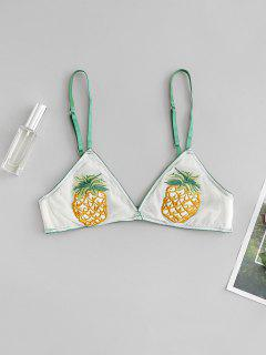 Pineapple Embroidered Mesh Lingerie Bra - Deep Green M