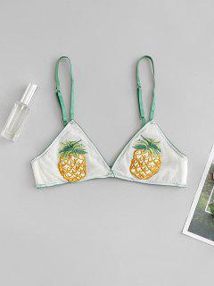 Pineapple Embroidered Mesh Lingerie Bra - Deep Green L
