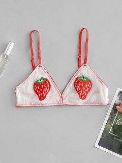 Strawberry Embroidered Bralette Mesh Bra - Red M