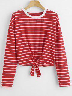 Cravate T-shirt à Rayures - Rouge S
