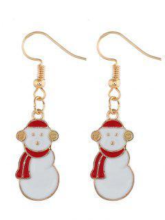 Christmas Snowman Printed Drop Earrings - Gold