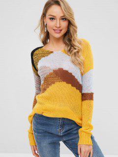 Suéter De Bloque De Color Boxy De Punto Suelto - Multicolor