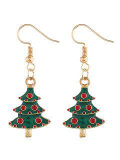Christmas Tree Pattern Dangle Hook Earrings - Gold