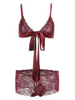 Lace Tie Front Bralette Lingerie Set - Red Wine S