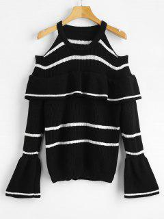 Cold Shoulder Flounce Striped Sweater - Black S