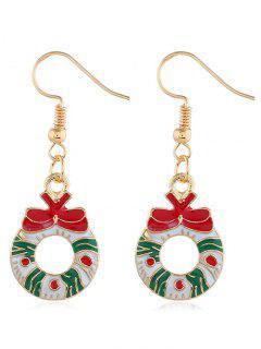 Christmas Garland Pattern Drop Earrings - Gold