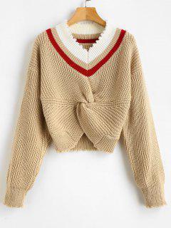 Stripes V Neck Twist Sweater - Light Khaki
