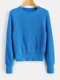 Raglan Sleeves Eyelet Sweater - Dodger Blue M