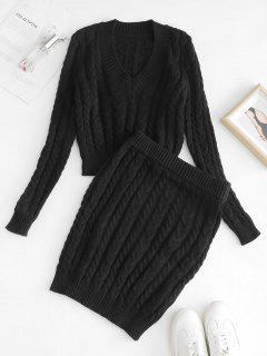 Cable Knit Crop Sweater And Skirt Set - Black M