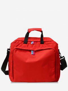 Solid Color Layered Zipper Design Handbag - Red