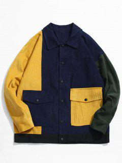 Color Block Pocket Corduroy Jacket - Cadetblue L