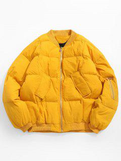 Solid Pocket Padded Bomber Jacket - Yellow S