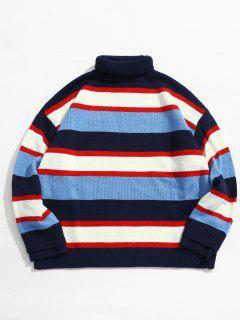 Turtleneck Knit Stripe Sweater - Blue L