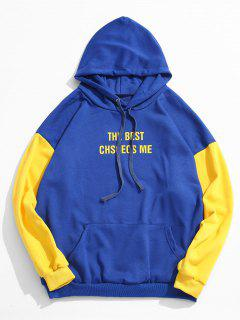 Sleeve Letter Contrast Pullover Hoodie - Blue M