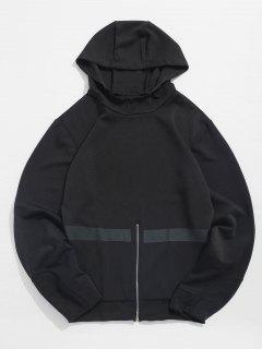 Bottom Zipper Stripe Pullover Hoodie - Black L