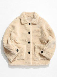 Solid Button Up Fluffy Jacket - Warm White M
