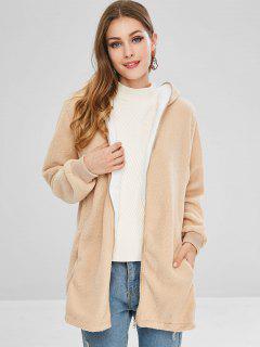 Full Zip Hooded Faux Fur Coat - Tan S