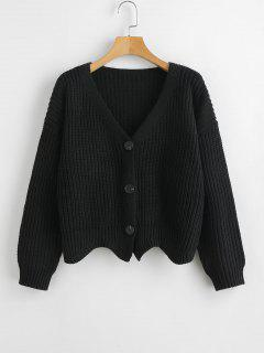 Scalloped Hem Chunky Knit Cardigan - Black