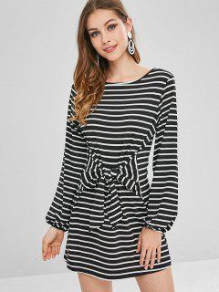Stripes Knotted Casual Dress - Black S