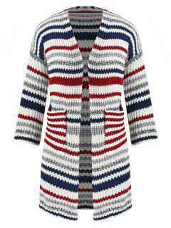 Plus Size Colored Stripe Cardigan - Multi-a
