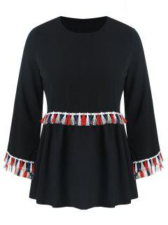Plus Size Colored Tassels Blouse - Black 2xl