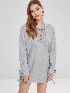 Lace Up Mini Hoodie Dress - Light Gray Xl
